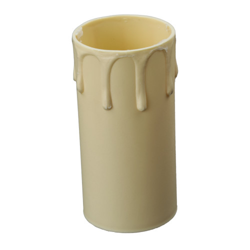 Ivory Candle Tube Cover With Drip Effect 40 x 85mm [7167384]