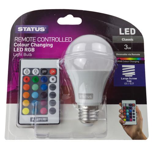 LED GLS ES Colour Changing Light Bulb 3w 7265613