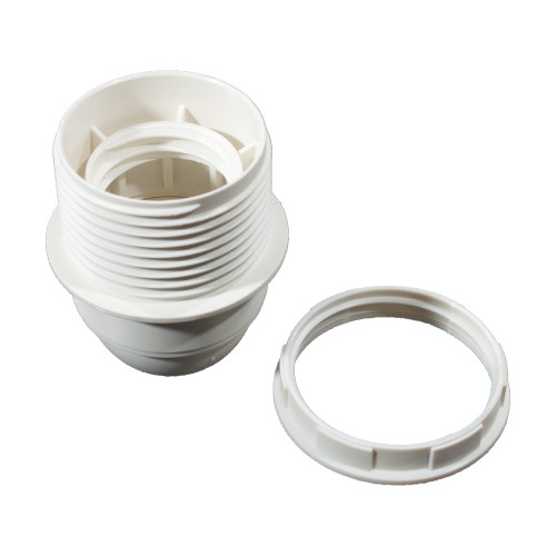 ES | E27 | Edison Screw Half Threaded White ABS Plastic Lampholder LH4