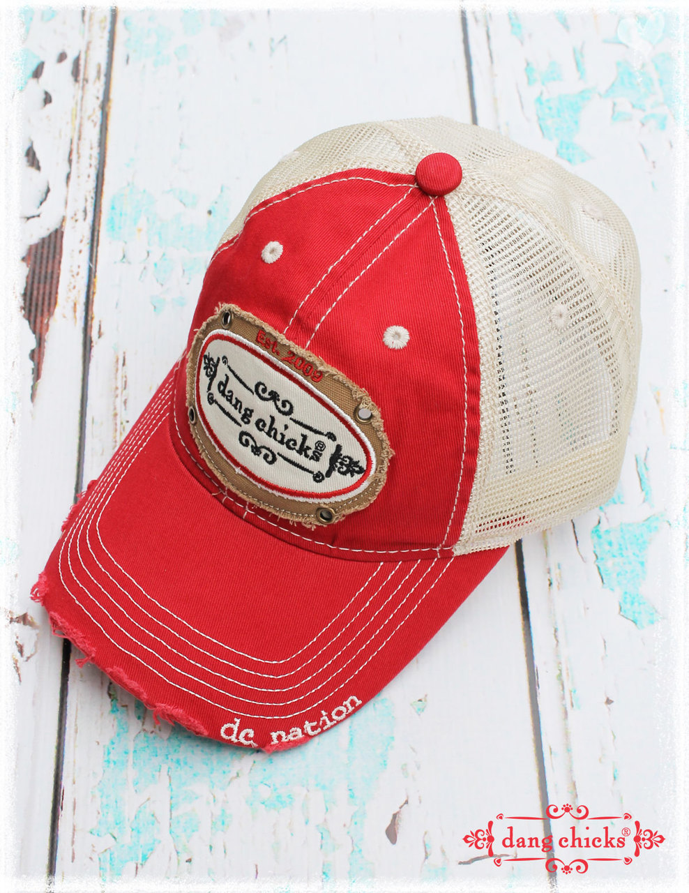 new product 9b474 f2571 Red trucker hats by Dang Chicks