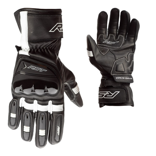 RST Pilot Leather Summer Motorcycle Gloves -Black/White