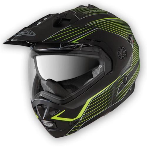 Caberg Tourmax Motorcycle Modular Flip Helmet - Matt Black & Fluo Yellow