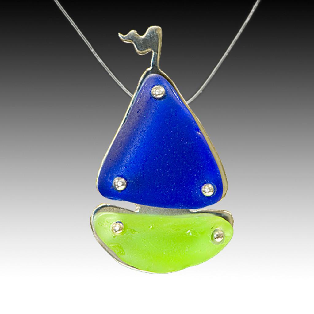 Cobalt & Lime Sail Boat Illusion Necklace