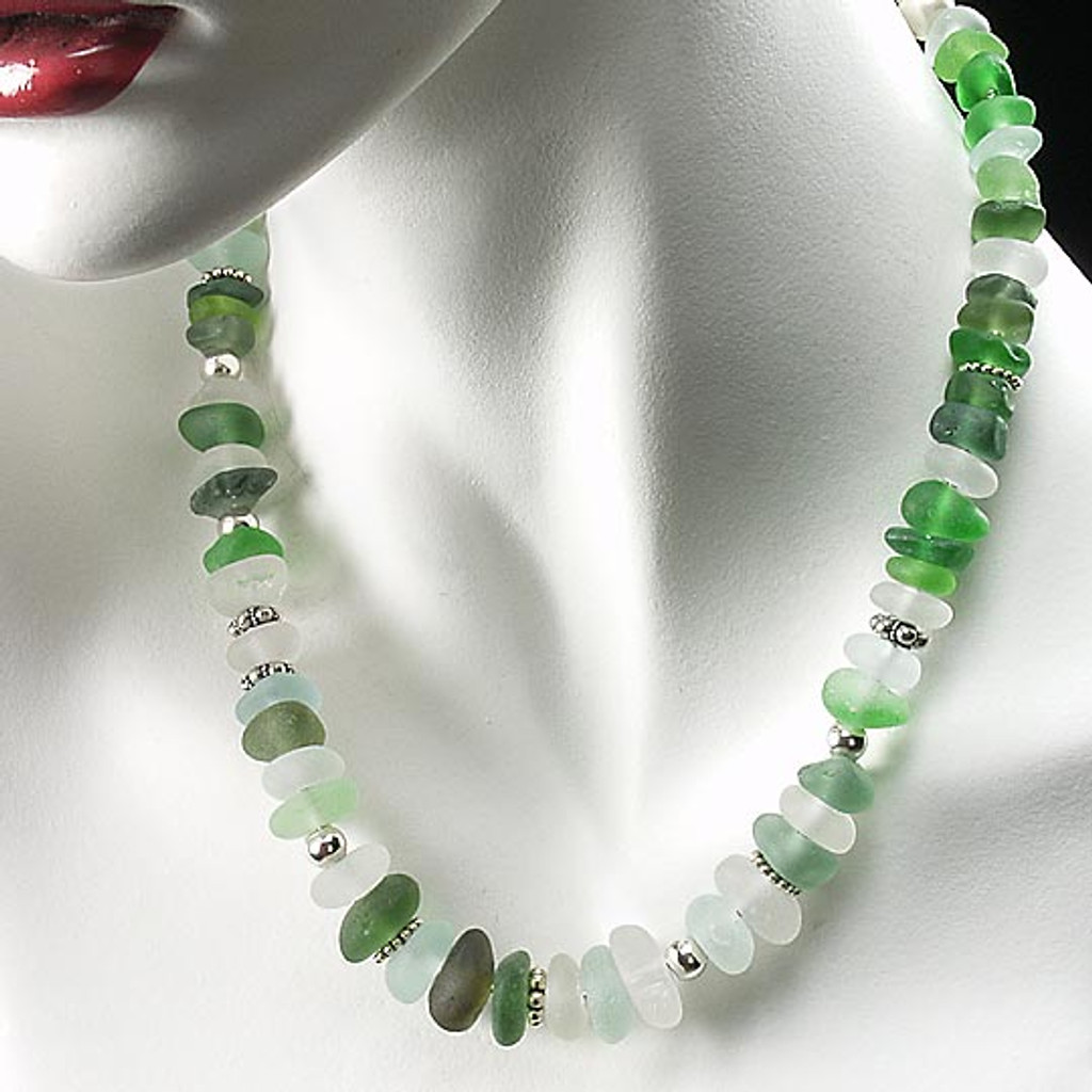 Sterling Silver Snake Chain with Blue, Aqua & Green Beach Glass Beads