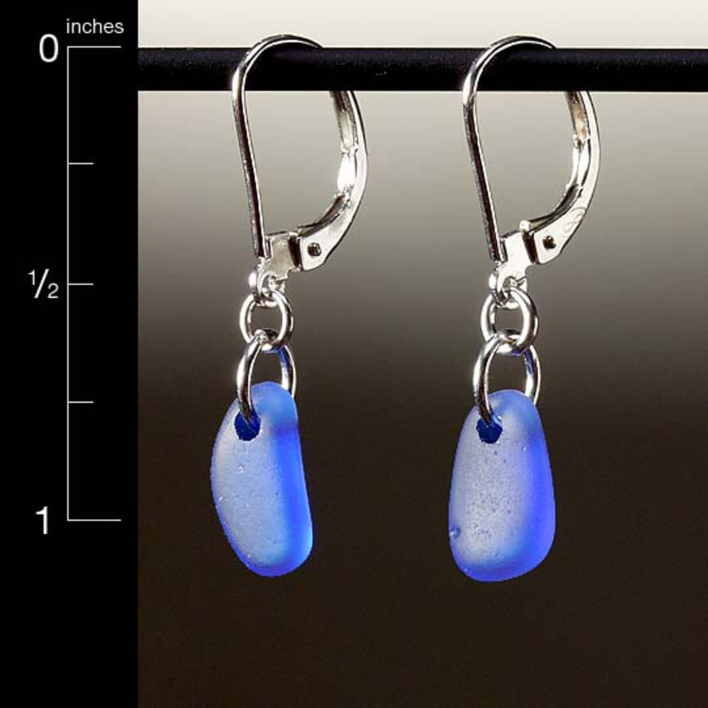 Periwinkle Sea Glass Top-Drilled Leverback Earrings