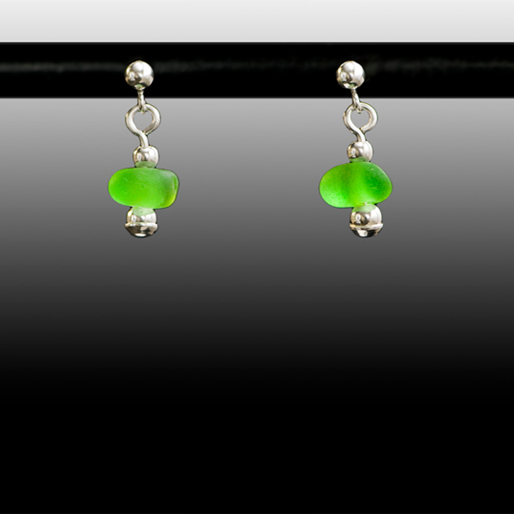 Lime Sea Glass Ball Post Earrings
