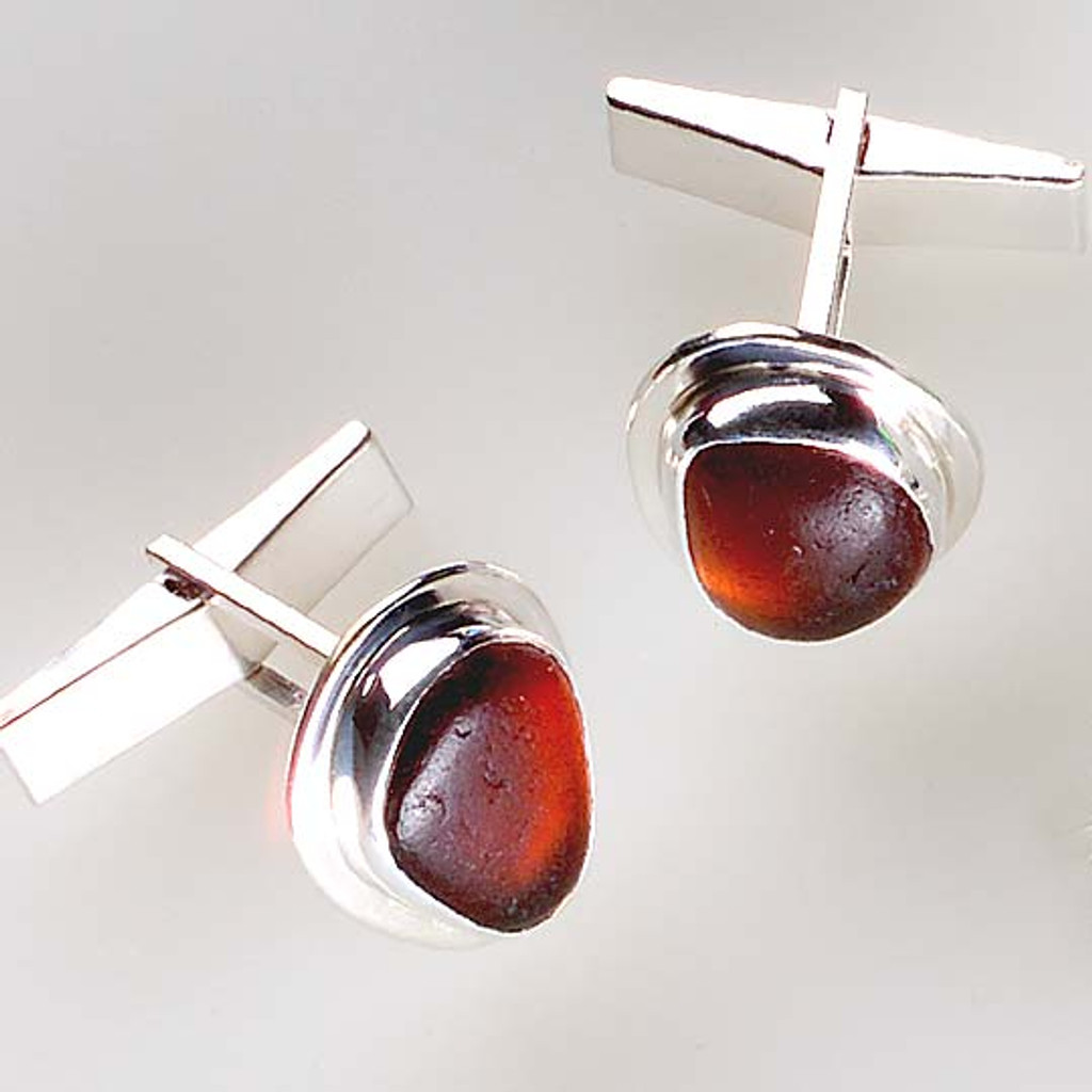 Brown Sea Glass Sterling Silver Bezel Set Cuff Links