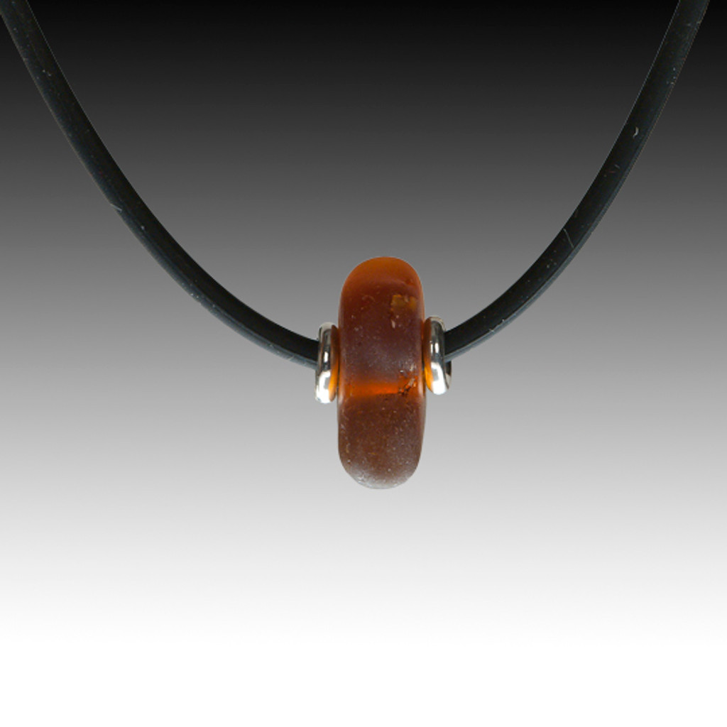 "Brown sea glass necklace on 16"" black rubber"