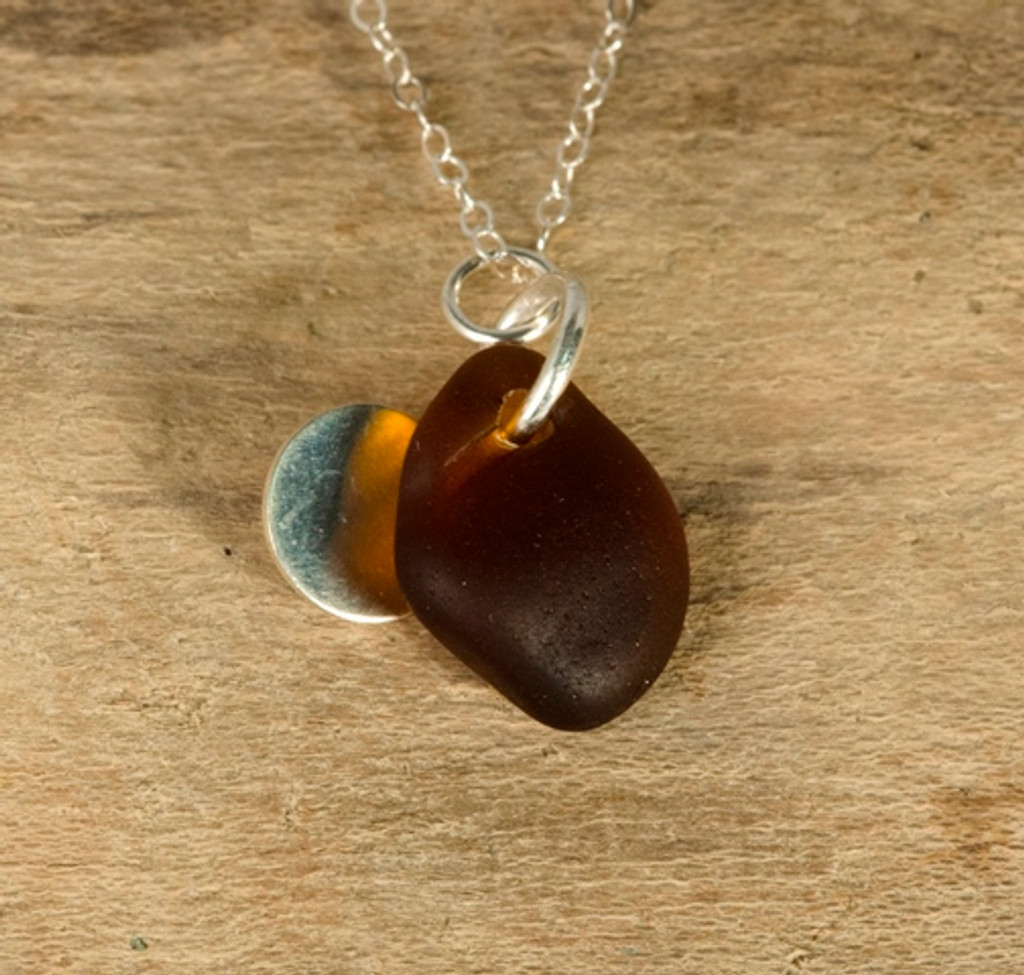 Brown Sea Glass & Sterling Silver Charm Necklace