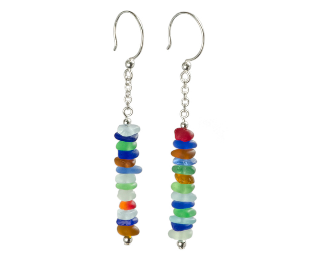 Multi-Colored Stacked Sea Glass Earrings