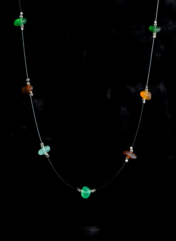 Multi-green, brown and seafoam Illusion Beach Glass Necklace