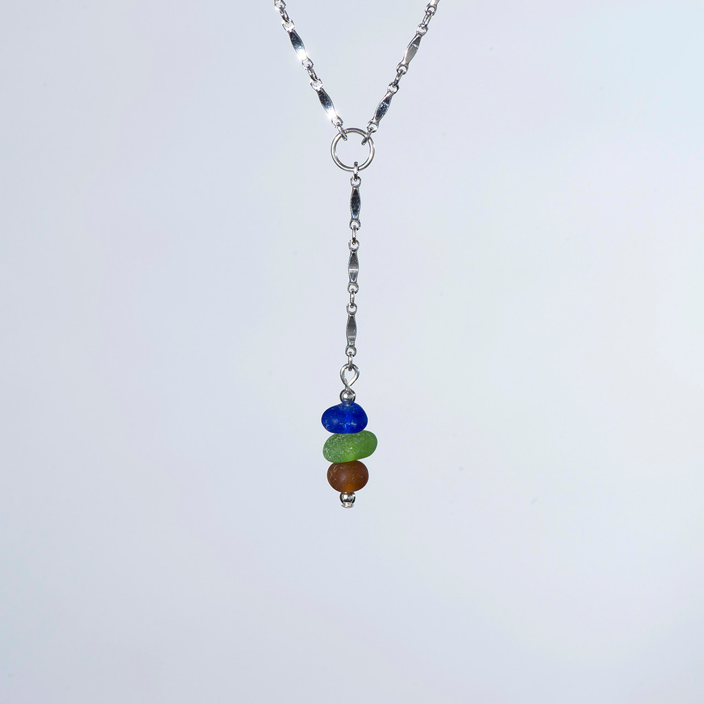 Y Necklace in Cobalt, Lime and Brown Beach Glass