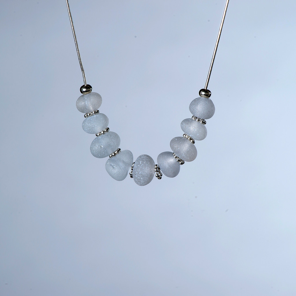 Clear Beach Glass Sterling Silver Snake Chain Necklace