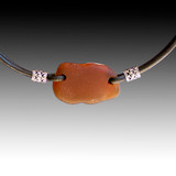 Brown Beach Glass with Black Leather Necklace