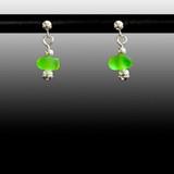 Lime Sea Glass Ball Post Earrings