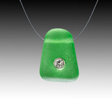 Green beach glass a diamond illusion necklace