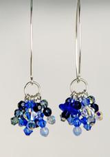 Cobalt Beach Glass & Swarovski Crystal Earrings