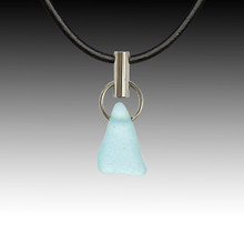 Aqua Beach Glass Post Pendant
