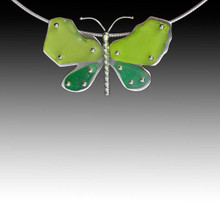 Lime & Kelly Omega Beach Glass Butterfly Necklace