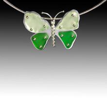 Soft green & Green Beach Glass Butterfly Necklace