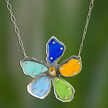 Multi-Colored Beach Glass Flower Necklace