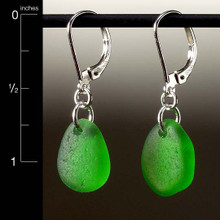 Green Sea Glass Top-Drilled Leverback Earrings