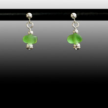 Green Sea Glass Ball Post Earrings