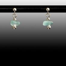 Aqua Sea Glass Ball Post Earrings
