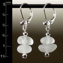 Clear Sea Glass Center Drilled Leverback Earrings