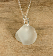 Clear Sea Glass & Sterling Silver Charm Necklace