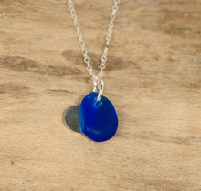 Cobalt Sea Glass & Sterling Silver Charm Necklace