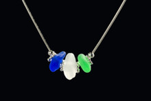 Three Stone Snake Sea Glass Necklace
