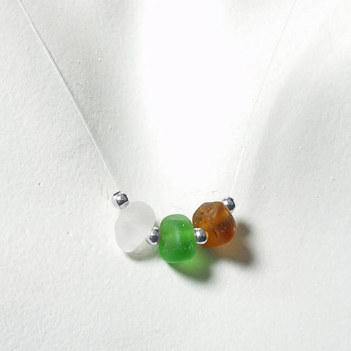 Clear, Green & Brown Tri-Glass Illusion Necklace