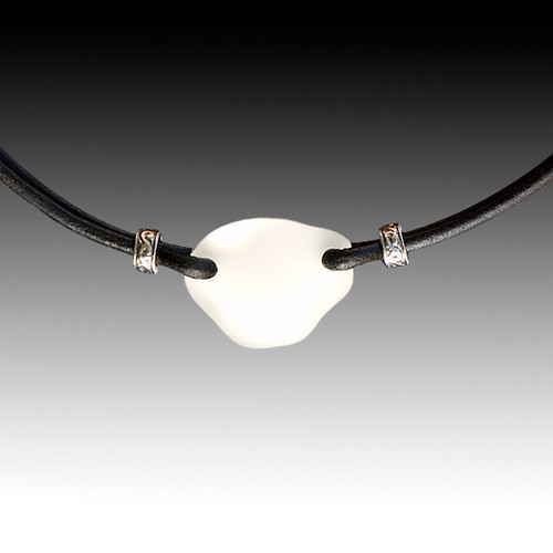 Clear Beach Glass with Black Leather Necklace