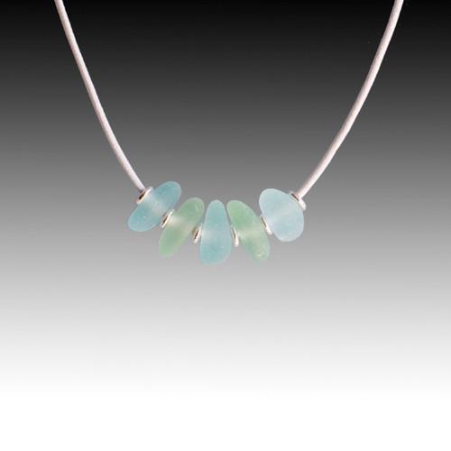 Seafoam & Aqua Beach Glass Strung Necklace