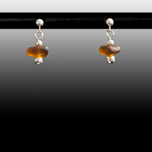 Brown Sea Glass Ball Post Earrings