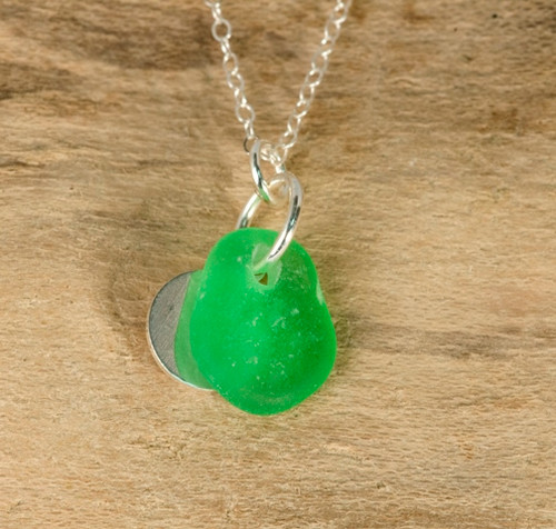 Green Sea Glass & Sterling Silver Charm Necklace