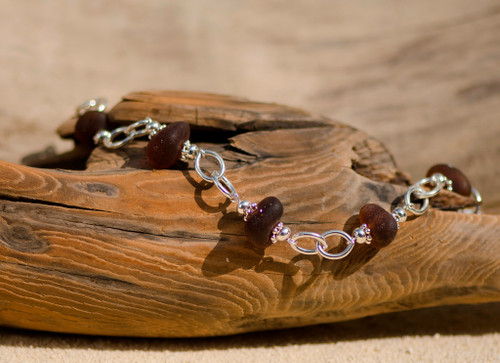 Sterling Silver & Brown Beach Glass Bracelet
