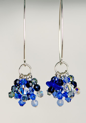 Cobalt Beach Glass & Swarovski Crystal Earrings