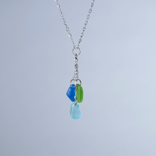 Lime, Periwinkle, & Aqua Beach Glass 'Y' Necklace