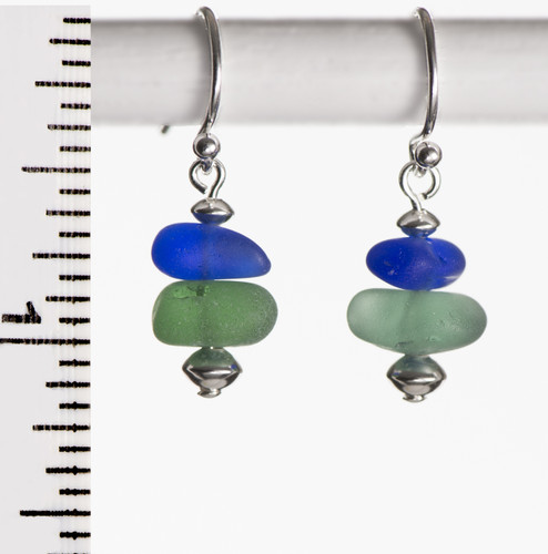 Cobalt & Soft Green French Wire Earrings