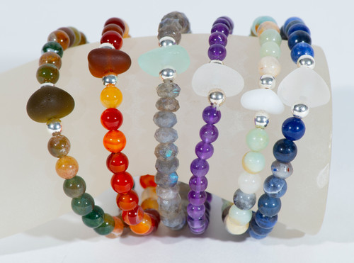 Gemstone and Beach Glass Stretch Bracelets