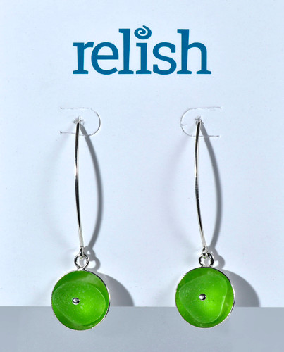 Sterling Silver Riveted Lime Earrings