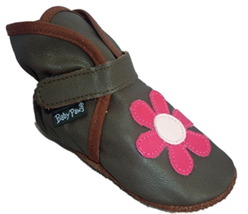 WALLIS Baby Bootie chocolate w/flower