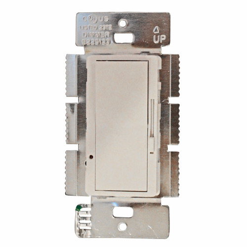 Sliding Dimmer 3-Way 600W White  Ideal for bedrooms, nurseries or anywhere that customized lighting levels are preffered Slide Dimmer with Toggle ON/OFF Rated at 120VAC 60Hz 600 Watt 3-Way application dimmer Use only with permanently installed 120V incandescent or halogen fixtures  UL CUL Listed