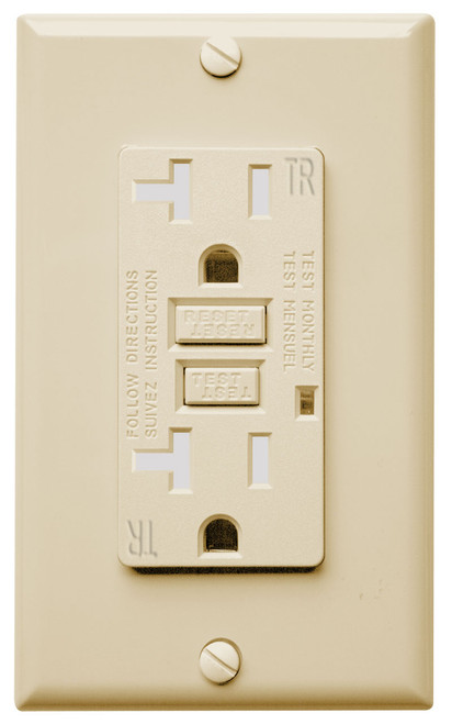 GFCI 20Amp Tamper Resistant and Weather Resistant UL2008 w/ LED Ivory  20Amp - 120V AC Tamper Resistant UL Approved Safelock function, the reset button will not engage if protection has been compromised
