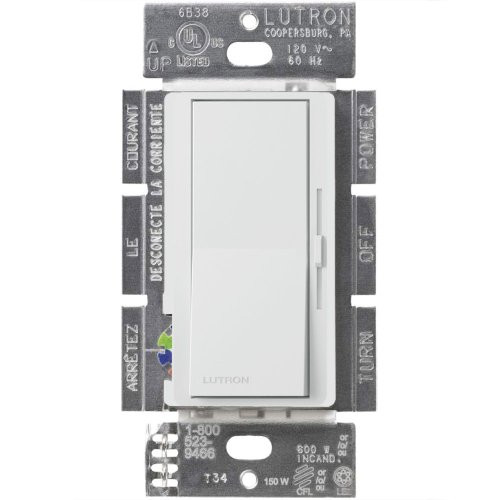 Lutron Diva Dimmable CFL/LED Dimmer White  C L dimmers are designed to work with DIMMABLE LED, CFL, Halogen, and Incandescent bulbs 150 Watt capacity for dimmable CFL/LED bulbs 600 Watt Capacity for incandescent/halogen bulbs 120V Single pole or 3-Way applications
