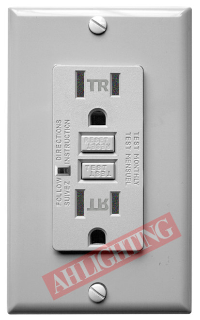GFCI 15Amp Tamper Resistant UL2008 w/ LED Gray 15Amp - 120V AC Tamper Resistant