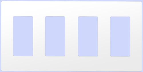 (WD4W-SCREWLESS) Decorative Screwless Wallplate 4-Gang White
