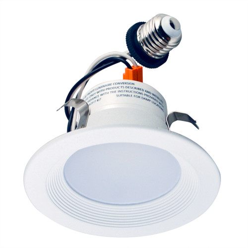 """4"""" Economy version of LED Retrofit Kit with Baffle. It is compatible with most of 4"""" standard recessed new construction and remodel housings. The Retrofit Kit comes with a E26 medium screw-base Edison adaptor for easy installation into standard incandescent sockets."""